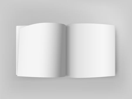 White square open book on grey table. Vector mockup