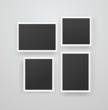Empty white photoframes with black blank background on a wall. Vector illustration