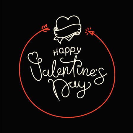 Happy Valentines Day lettering greeting card. Be my Valentine concept. Vector banner with  linear elements