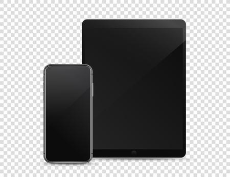 Modern smartphone and tablet computer on transparent background. Vector mockup