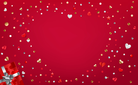 Red background with abstrac heart shape with foil confetti. Valentines Day or love card tmplate