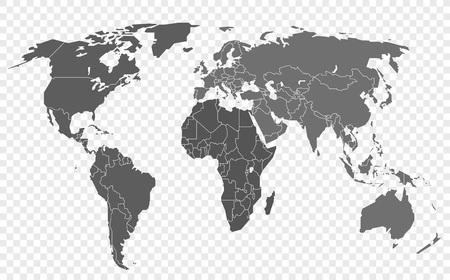 Weltkarte auf transparentem Hintergrund isoliert. Geschichtete Infografik-Vorlage Vektorgrafik