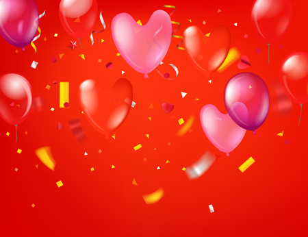 Happy valentines day greeting card. Valentines vector heart with confetti