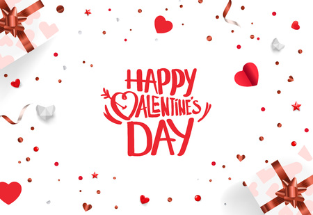 Valentine`s Day and Mother`s Day celebration card template. Vector background with different accesorries