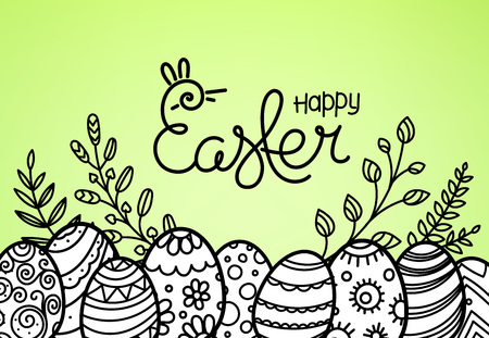 Easter greeting card with rabbit silhouette Illustration