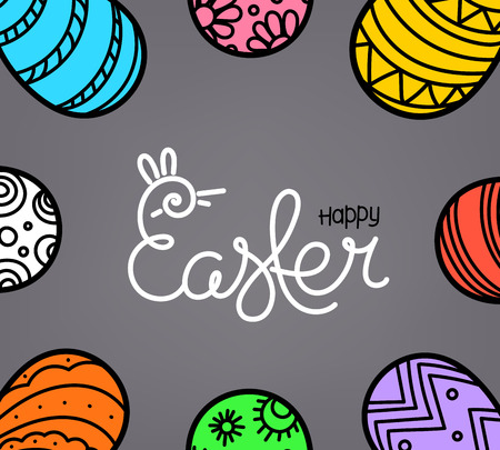Easter greeting card with traditional decoration and lettring inscription. Vector sketchy  illustration