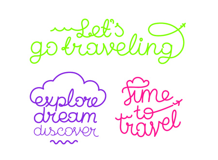 Traveling design vector logos. Lets go traveling. Time to travel. Explore dream discover