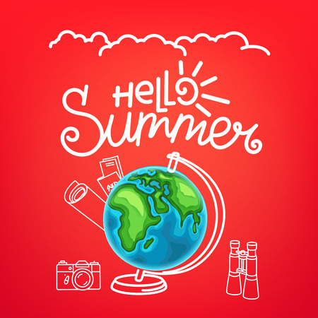 Hello summer concept. Summer travel vector illustration Zdjęcie Seryjne - 117755753