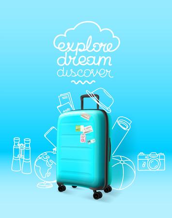 Blue plastic suitcase on blue background. Explore dream discover