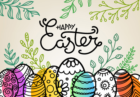 Easter greeting card with traditional decoration. Vector sketchy illustration