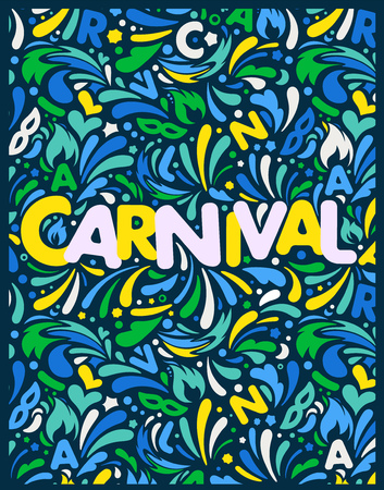 Green yellow blue vertical abstract banner. Horizontal carnaval design template with lettering