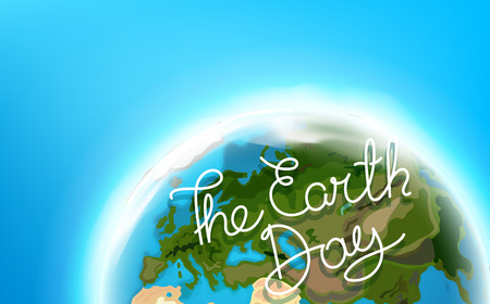 Travel destination concept with lettering. The Earth Day lettering illustration