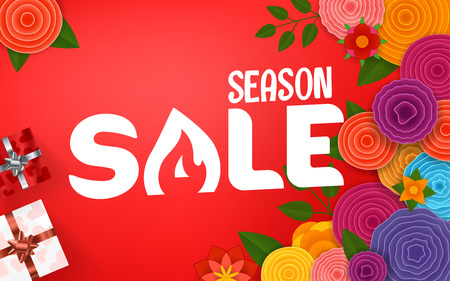 Season sale offer. Shopping banner template with gift boxes and abstract flowers Illustration