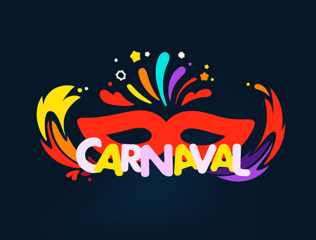 Brazilian traditional carnival concept. Abstract color fireworks and flames Illustration