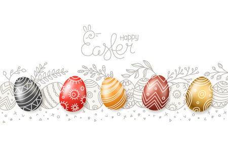 Happy Easter greeting card. Easter eggs 3d and in doodle style. Hand drawn vector banner