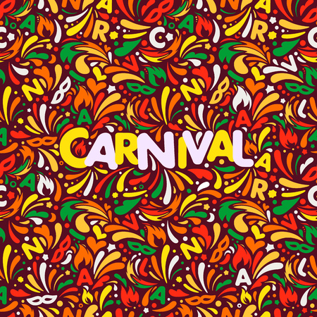 Colorful abstract banner. Traditional carnaval design template with lettering logo