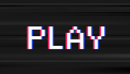 Retro digital type. Computer video game stule word PLAY