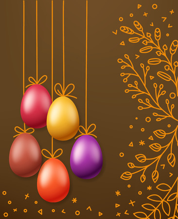 Easter greeting card template. Holiday vector banner Illustration