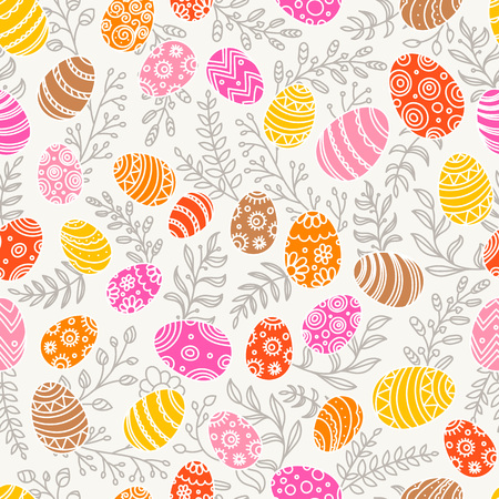 Easter seamless pattern with eggs and spring flowers. Seamless vector pattern Illustration