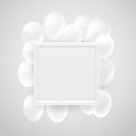 Empty white frame on a wall with flying white balloons. Vector illustration