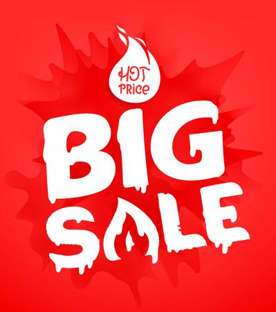 Big sale banner template. Hot price concept. Splash effect discount label Illustration