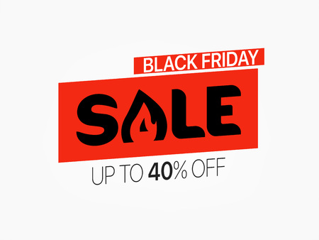 Black friday sale banner. Season sale vector offer. Up to 40 percent off