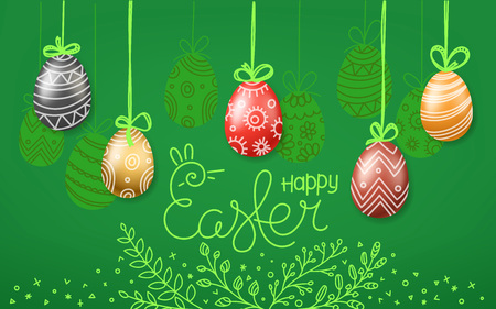 Easter greeting card. Easter eggs 3d and in doodle style. Holiday vector banner Illustration