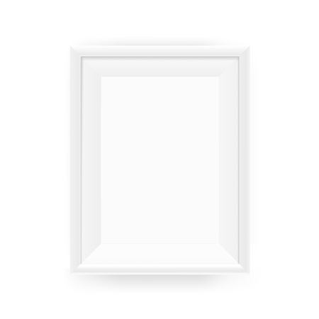 Realistic empty white picture frame on a wall. Vector illustration Isolated on white background