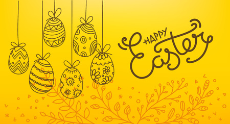 Easter eggs 3d and in doodle style. Holiday vector banner. Easter greeting card