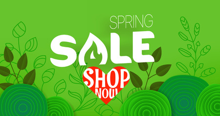 Spring sale offer. Shopping banner template with gift boxes and abstract flowers. Shop now