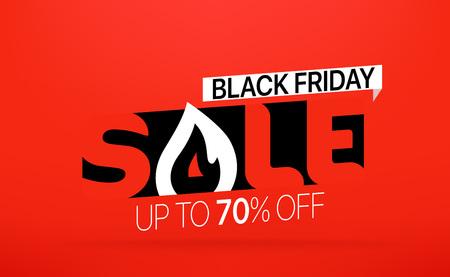 Black friday sale banner. Season sale vector offer. Up to 70 percent off Illustration