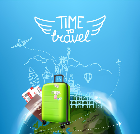 Time to travel concept. Vector illustration with the bag
