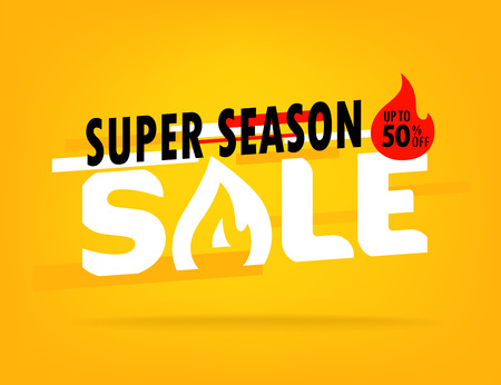 Super season sale. Shopping offer layout. Up to 80 percent off