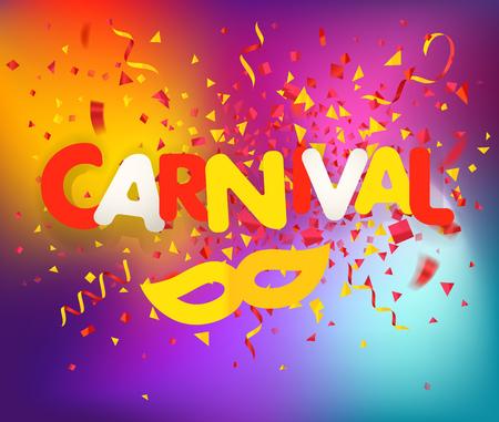 Brazilian traditional carnival concept. Festive banner vector template. Colorful confetti and ribbons