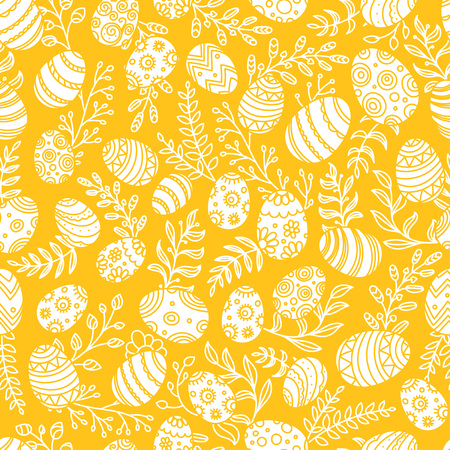 Easter pattern with eggs and spring flowers. Seamless vector pattern