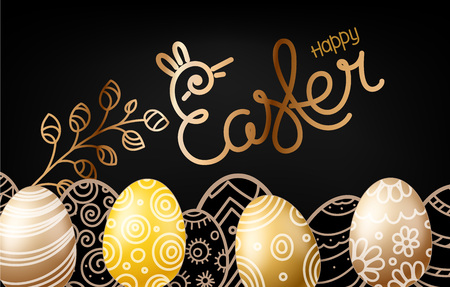 Christial holiday greeting card. Happy Easter vector banner