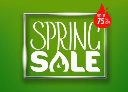 Spring sale concept. Vector lettering shopping banner