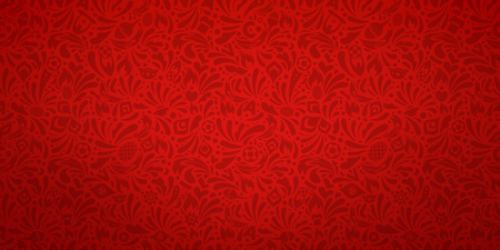 Colorful abstract red pattern with plant elements and summer sports elements