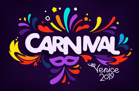 Italian traditional carnival concept. Venice 2019 Illustration