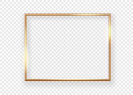 Realistic gold horizontal shining photoframe on a transparent background
