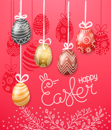 Easter greeting card. Easter eggs 3d and in doodle style. Holiday vector pink banner