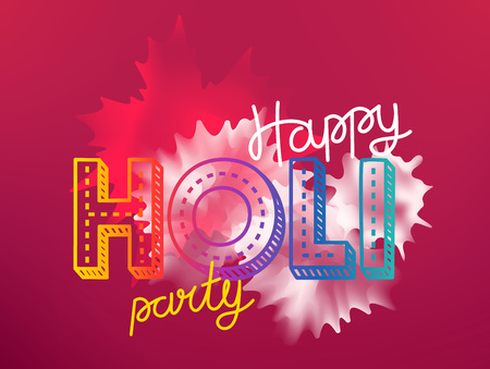 Happy holi party vector banner. Vector greeting card. Party invitation concept Illustration