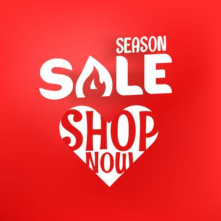 Season sale offer. Shopping banner template with gift boxes and abstract flowers. Shop now concept