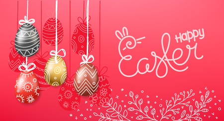 Easter greeting card. Easter eggs 3d and in doodle style. Orizontal vector banner