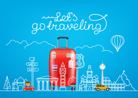 Travel concept. Vector illustration with famous sights and accessories Illustration