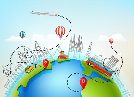 World travel vector color illustration