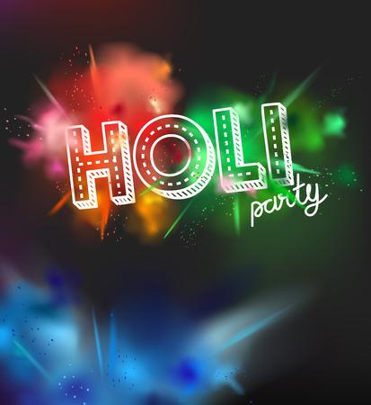 Holi holiday party invitation layout. Color powder explosion on dark background