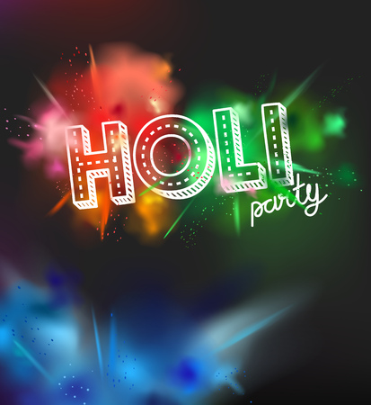 Holi holiday party invitation layout. Color powder explosion on dark background