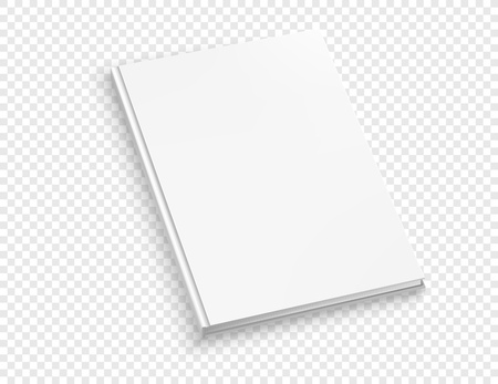 White thin hardcover book vector mock up isolated on transparent background.  Closed book top view vector illustration Illustration
