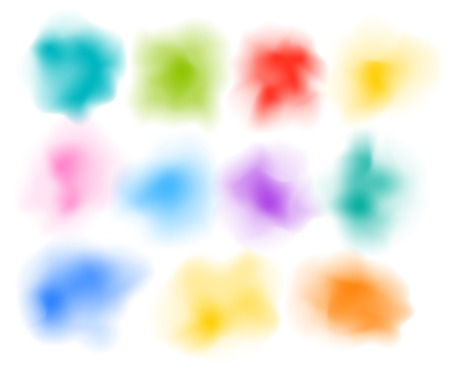 Vector abstract colorful powder clouds. Multicolored blots clip-art isolated on white Illustration